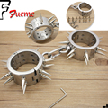 Adult sex toys to stimulate couples fun supplies stainless steel bracelet with rivets handcuffs. Metal bondage toys.