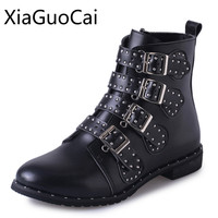 Hot Sale Black Motorcycle Men Boots Pointed Toe Crystal Winter Ankle Fashion Boots For Female Leather