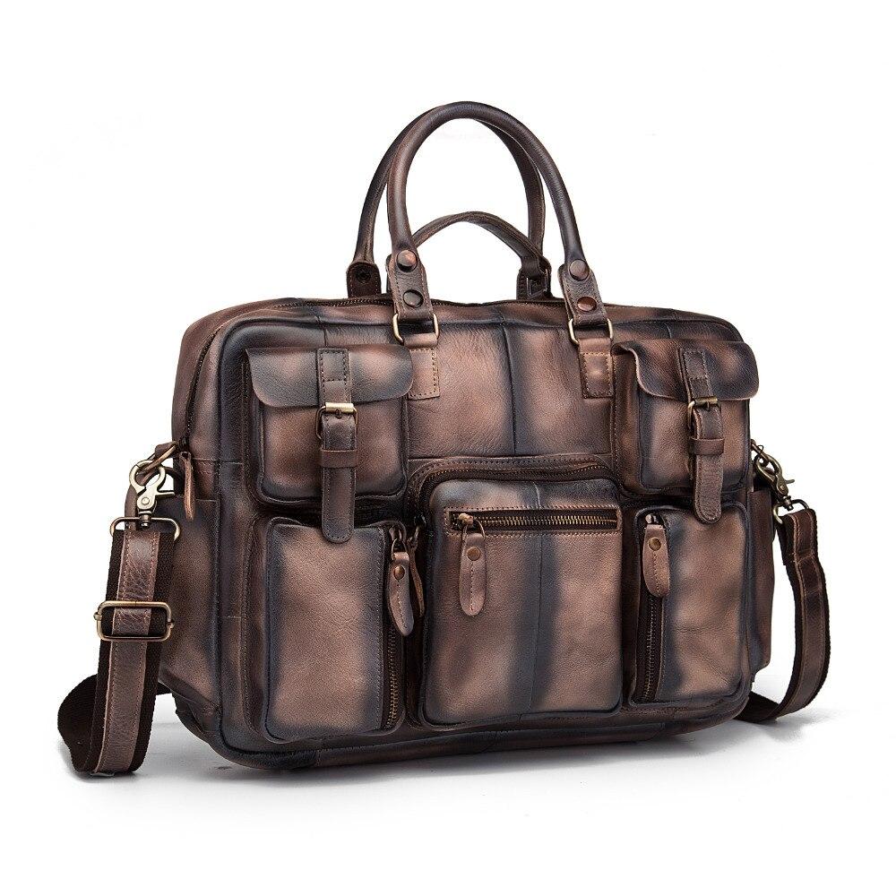 Оригинальный кожаный антикварный большой вместительный мужской портфель бизнес 15,6 чехол для ноутбука Attache сумка портфель 3061db