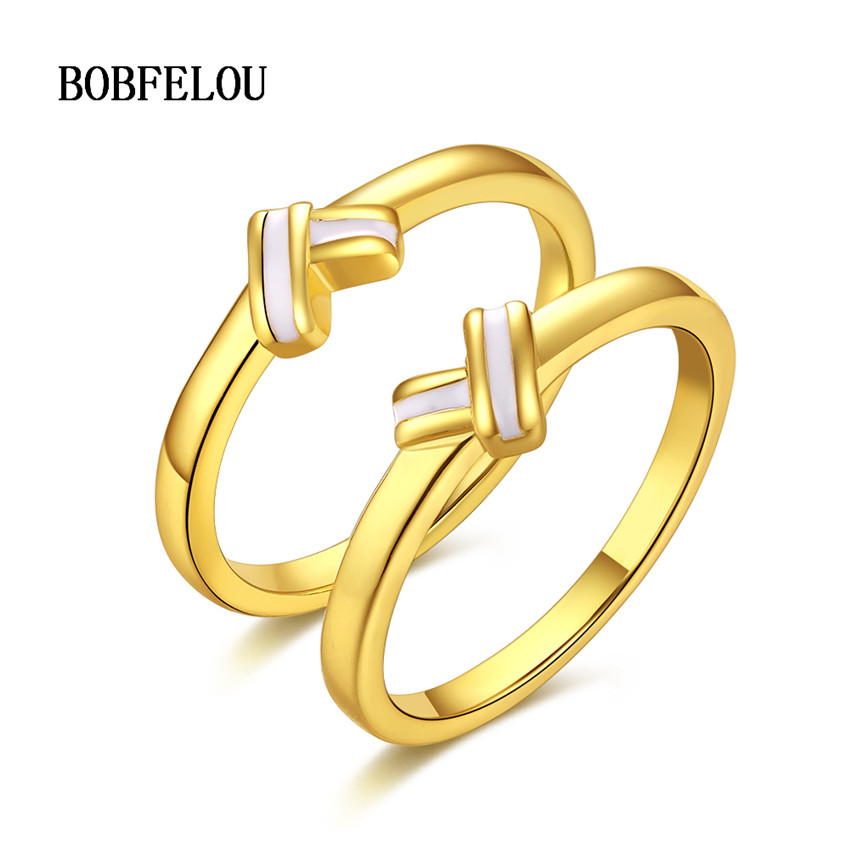 BOBFELOU May New desgin Simple love knot claw set ring personality ...