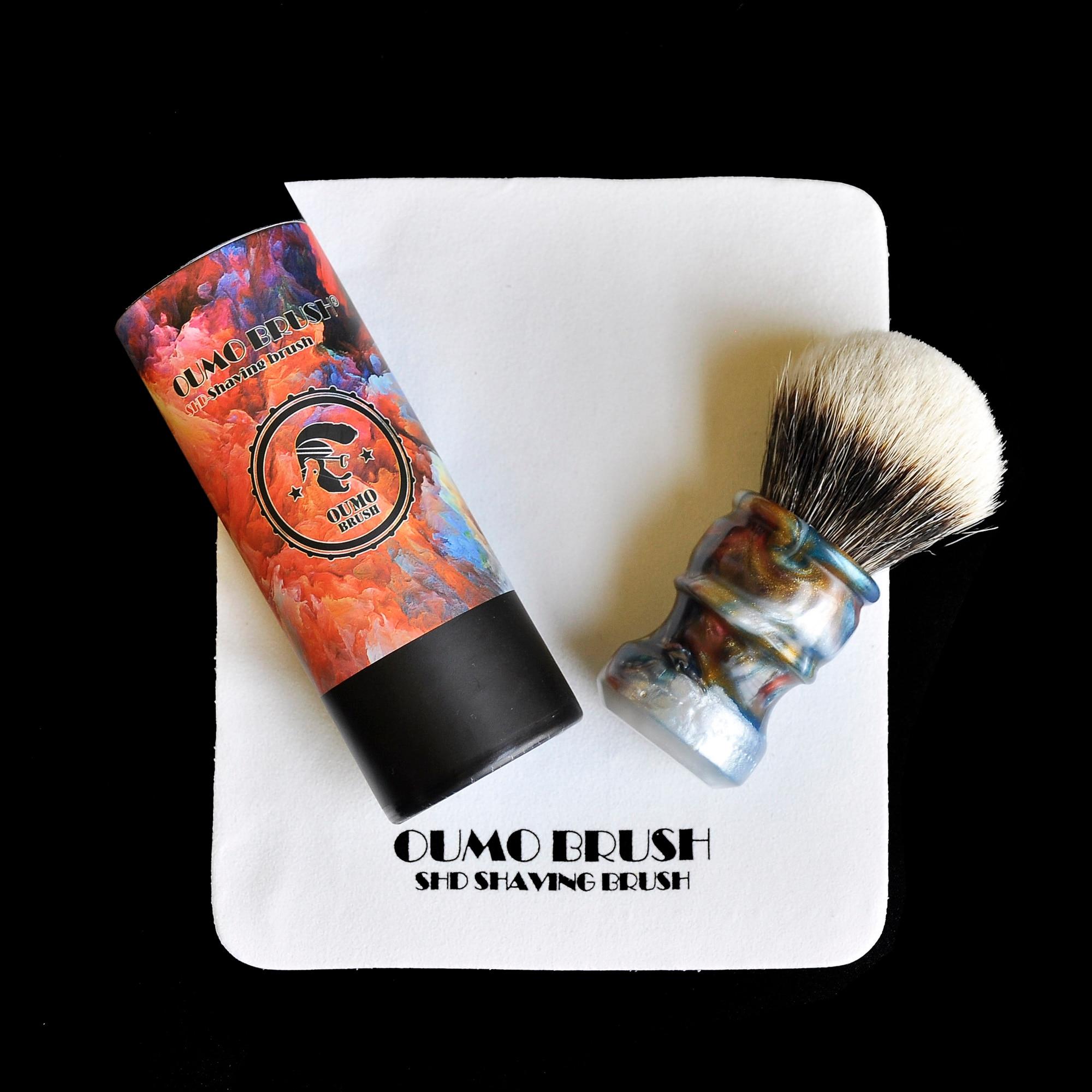Image 2 - OUMO BRUSH  2019/8/1 CHUBBY  Art shaving brush with SHD fan Manchuria badger knot gel city 26MM-in Shaving Brush from Beauty & Health
