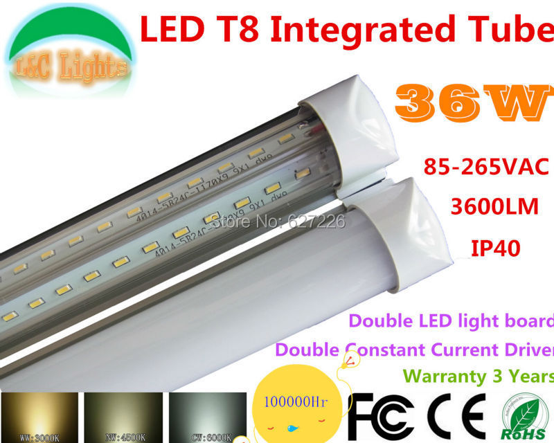 36W LED T8 integrated tube,Double drive & Double drive Light board,240PCS 4014SMD,3600LM,LIFE 50000Hr,Warranty 3 Years,LED Light p10 real estate project hd clear led message board 2 years warranty