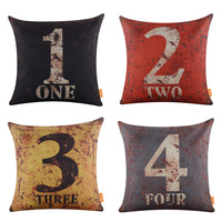 LINKWELL 1PC 18x18 Inches Rusted Look Kid Children Room Decor Digit Burlap Number Cushion Cover 45X45cm