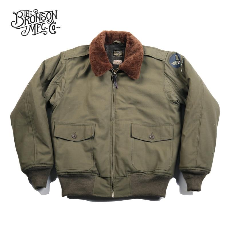 Bronson USAAF B 10 เที่ยวบิน 1943 รุ่นกลางบิน Coat Vintage B10 ชายเสื้อแจ็คเก็ต-ใน แจ็กเก็ต จาก เสื้อผ้าผู้ชาย บน   2