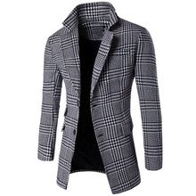 Popular 2016 Men Blazers Suit Collar Coat Double-Breasted Slim Fashion Plaid Long Section Personality Windbreaker Plus Size