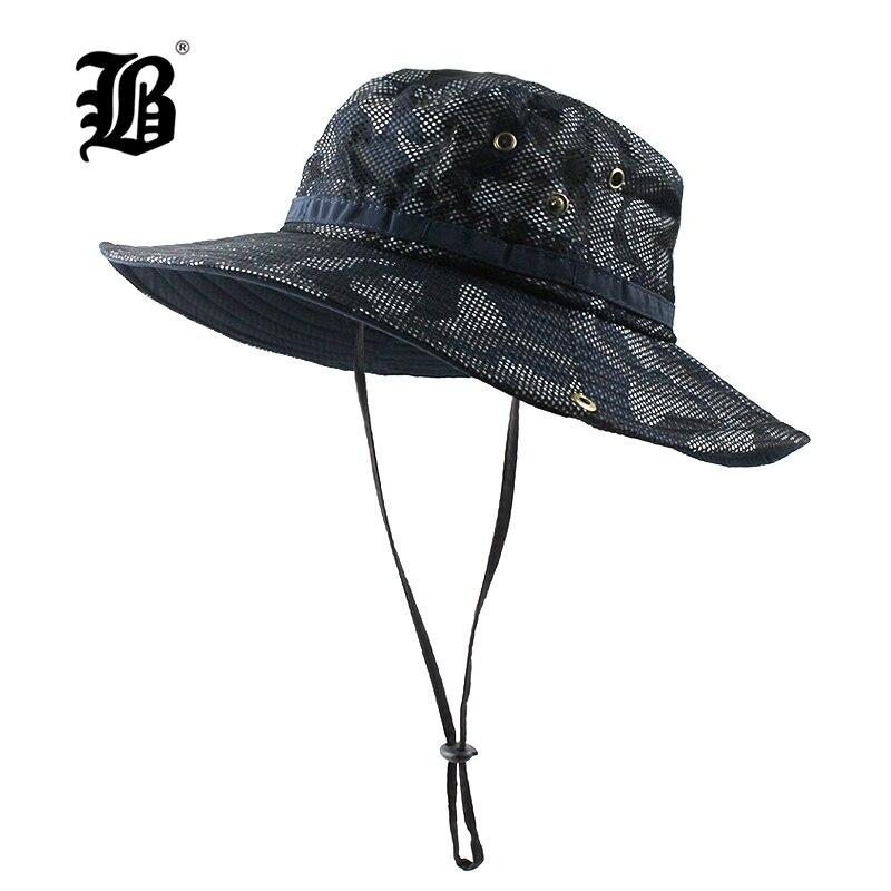 [FLB] Sun Hat Bucket Summer Men Women Fishing Boonie Hat Sun Camouflage Long Large Wide Brim Mesh Hiking Outdoor Beach Cap F330 1