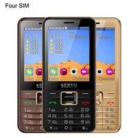 Original Phone V8100 2.8 inch 4 Four SIM cards 4 standby cellphone Bluetooth Flashlight FM GPRS Russian keyboard Mobile phones
