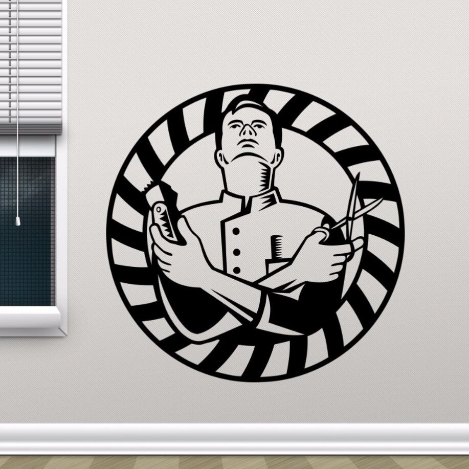 Barber Shop Wall Decal Removable Vinyl Salon Sticker Decor Decoration Hair Art Mural AY542