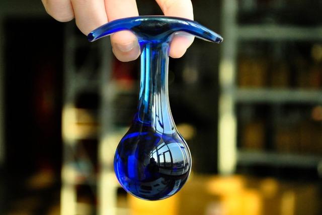 Blue pyrex glass anal dildo butt plug crystal bead vagina