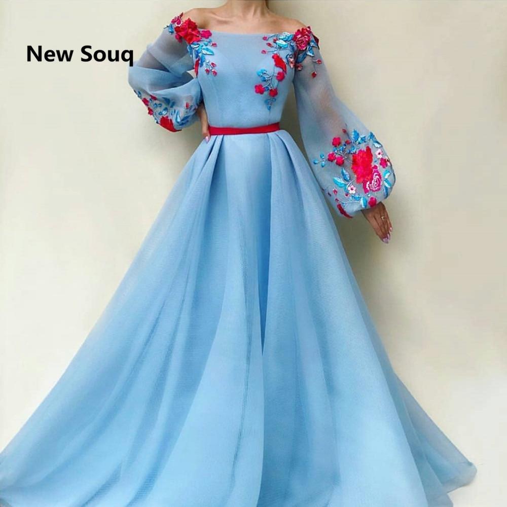 Summer Sky Blue Tulle A-Line Prom Dress Off The Shoulder Boat Neck Long Sleeves Evening Gowns Vestido De Fiesta