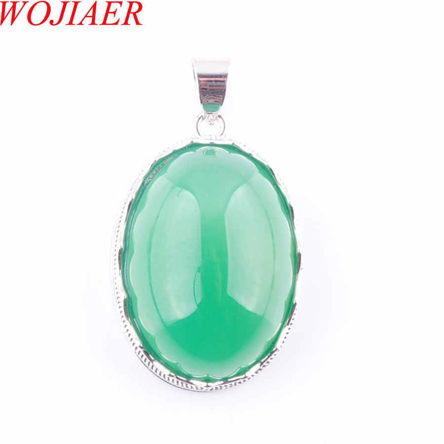 2019 รักรูปร่างไข่ตกแต่งสีเขียว Agates หิน Statement Suspension Charms จี้ของขวัญหญิง WOJIAER PN3673