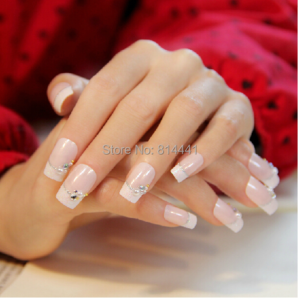 French Valentine Nail Art 24french Nails With Glitter And Jewelry Accessories 3d False Nails In