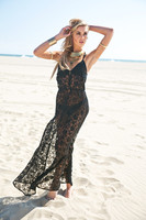 10pcs Lot Fashion Boho Summer Style Asymmetry Beach Black Lace Maxi Dress Plus Women Summer Dresses