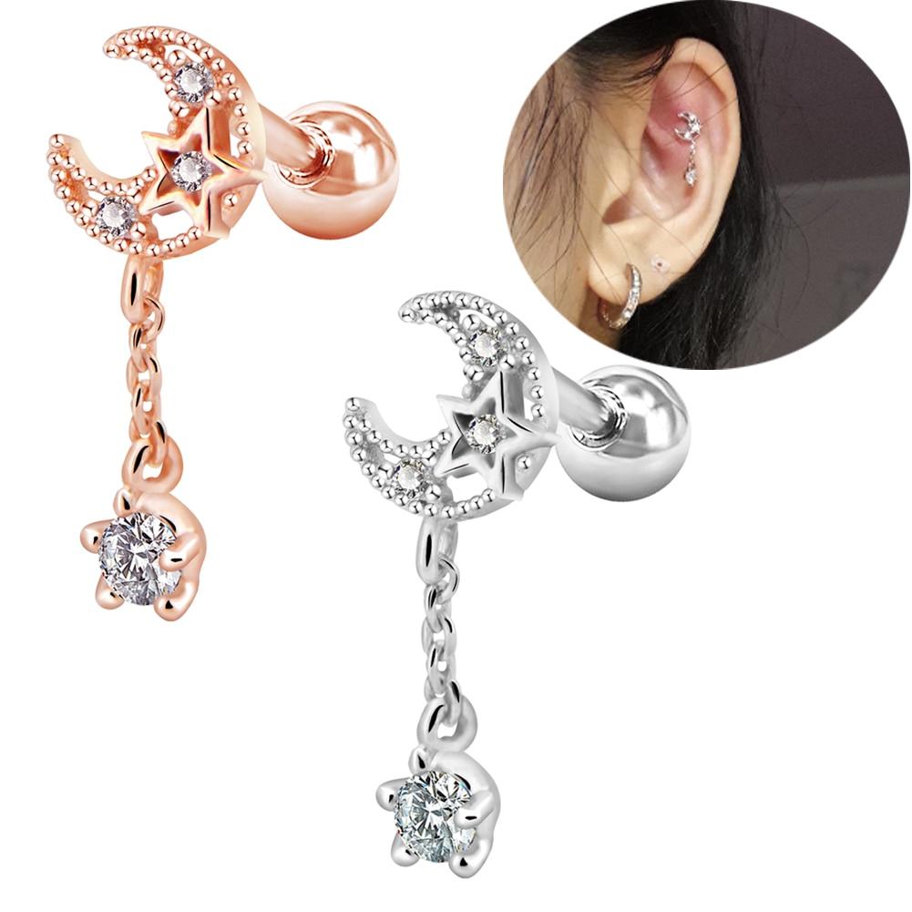 Tragus Stainless Steel Piercing Helix Ear Star Zirconia Aqua Clear White Ladies