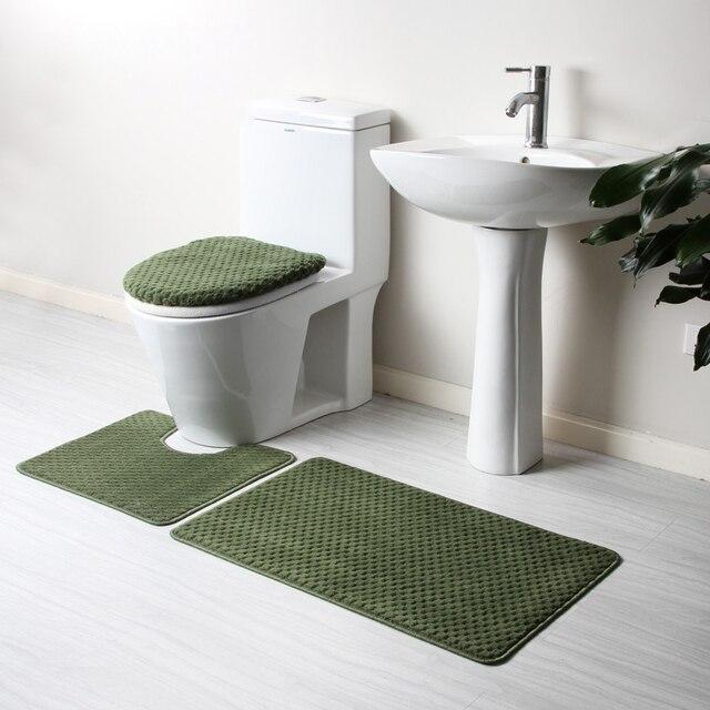 4pcs Luxury Solid Bath Mat Set Toilet Seat Cover Bathroom Rug Floor Carpet  Green Red Beige