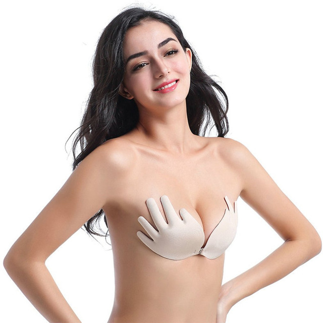 9809895efe Seamless Silicone Invisible Bra Funny Finger Push Up Bra Front Closure  Strapless Chest Paste Brassiere Intimates Soutien Gorge