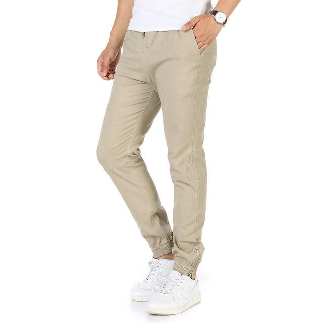 396e479799 Hombre Casual Joggers Pantalones Hombre Pantalones azul marino negro Beige  verde pantalones de cremallera de apertura