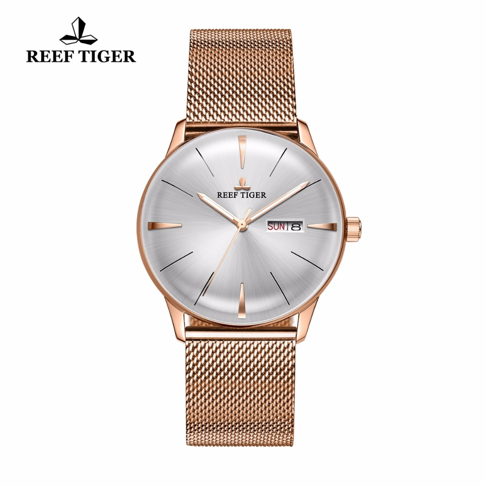 Reef Tiger/RT Luxury Simple Watches for Men Rose Gold Automatic Watches with Date Day Analog Watches RGA8238 вьетнамки reef day prints palm real teal