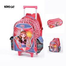 Neue Nette Kinder Kinder Trolley Schultasche Rucksack Taschen Bookbag Weibliche Schulrucksäcke für Jugendliche Mädchen Schüler Schultasche