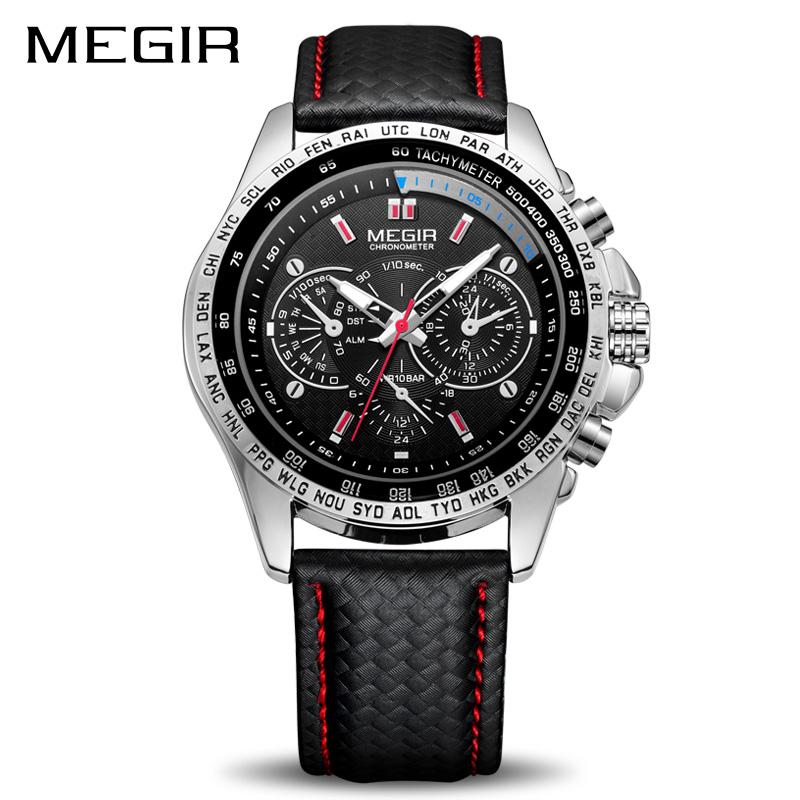 MEGIR Sport Mens Watches Top Brand Luxury Quartz Men Watch Fashion Casual Black PU Strap Clock Men Big Dial Erkek Saat 1010 цена и фото