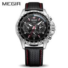 MEGIR Спорт для мужчин s часы лучший бренд класса люкс кварцевые часы модные повседневное черный PU ремешок Часы мужские с большим циферблатом Erkek Saat 1010