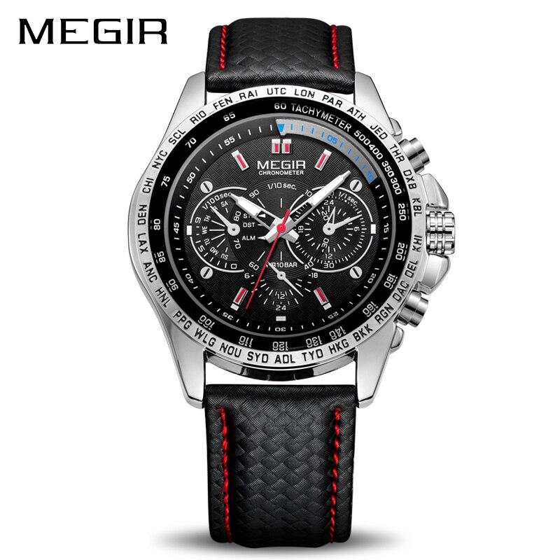 MEGIR relojes deportivos Top marca de lujo de cuarzo hombres reloj moda Casual negro PU Correa reloj hombres grandes Dial Erkek saat 1010