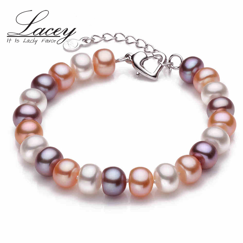 LACEY Real natural Freshwater Pearl Bracelet adjustable button 9-10mm beads cultured real pearl bracelet jewelry Womens GiftLACEY Real natural Freshwater Pearl Bracelet adjustable button 9-10mm beads cultured real pearl bracelet jewelry Womens Gift