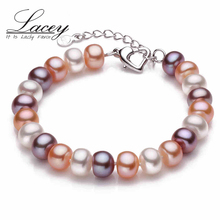 LACEY Real natural Freshwater Pearl Bracelet adjustable button 9-10mm beads cultured real pearl bracelet jewelry Womens Gift