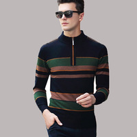 2017 Men Winter Warm Thicken Full Wool Half Zipper Sweater Autumn Knitted Pullover Jumper Casual Turtleneck