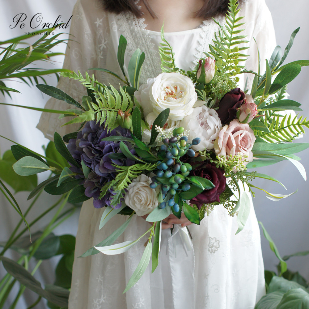 PEORCHID Green White Purple Bridal Bouquet European French Country Style Rose Peony Bride Flowers Forest Wedding Bouquet 2019