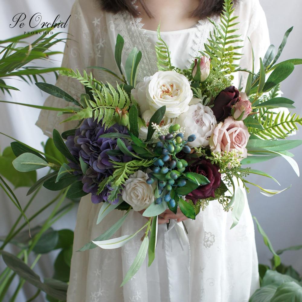 Peorchidée vert blanc violet Bouquet de mariée européenne française Style campagnard Rose pivoine mariée fleurs forêt mariage Bouquet 2019