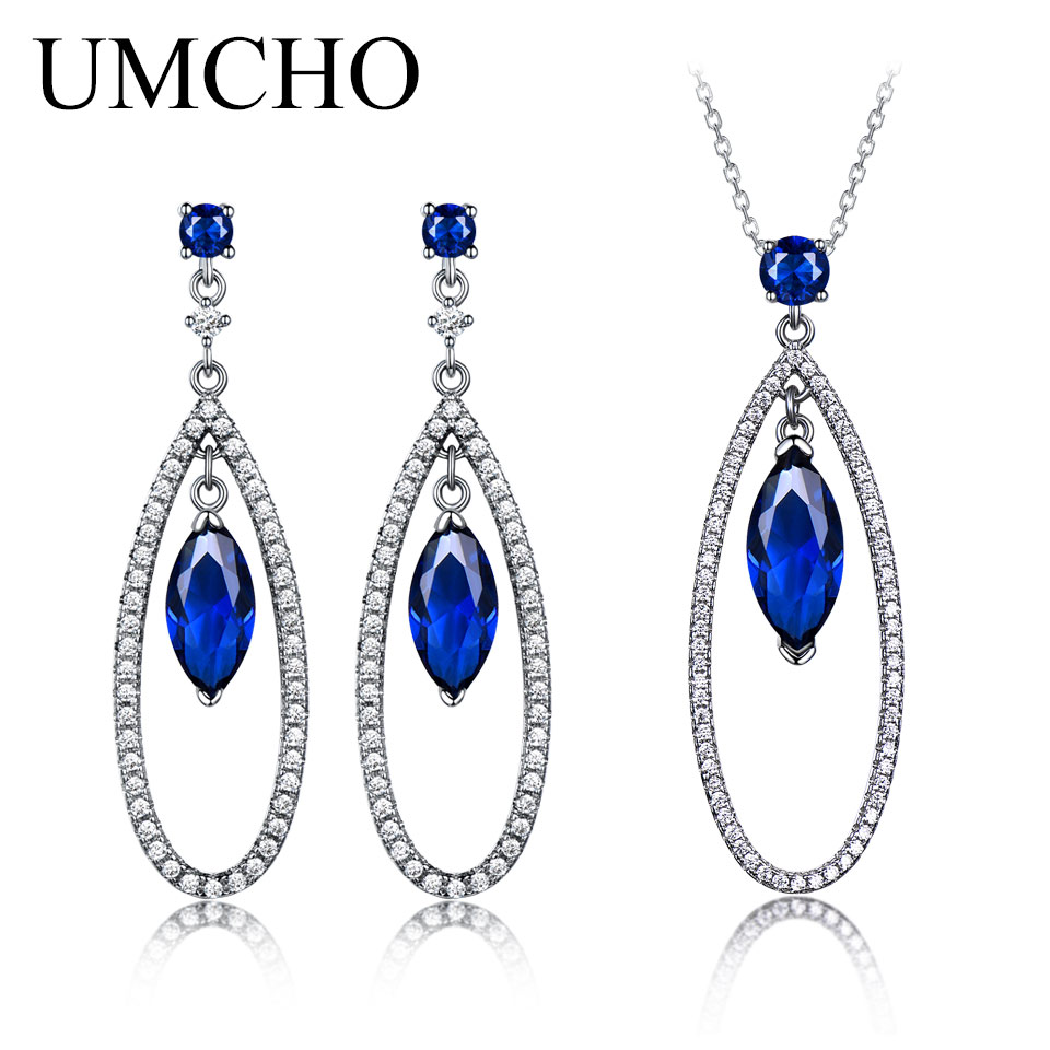 UMCHO Created Sapphire Water Drop Earrings Necklace Real 925 Sterling Silver Jewelry Sets For Women Classic Gift Fine JewelryUMCHO Created Sapphire Water Drop Earrings Necklace Real 925 Sterling Silver Jewelry Sets For Women Classic Gift Fine Jewelry