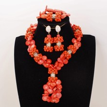 4UJewelry Dubai Coral Beads Jewelry Set For African Women WaterDrop Beads Jewellery Set For Nigerian Weddings Nature Coral Beads cute orange and gold nigerian wedding beads african nigerian coral beads jewelry set jb090