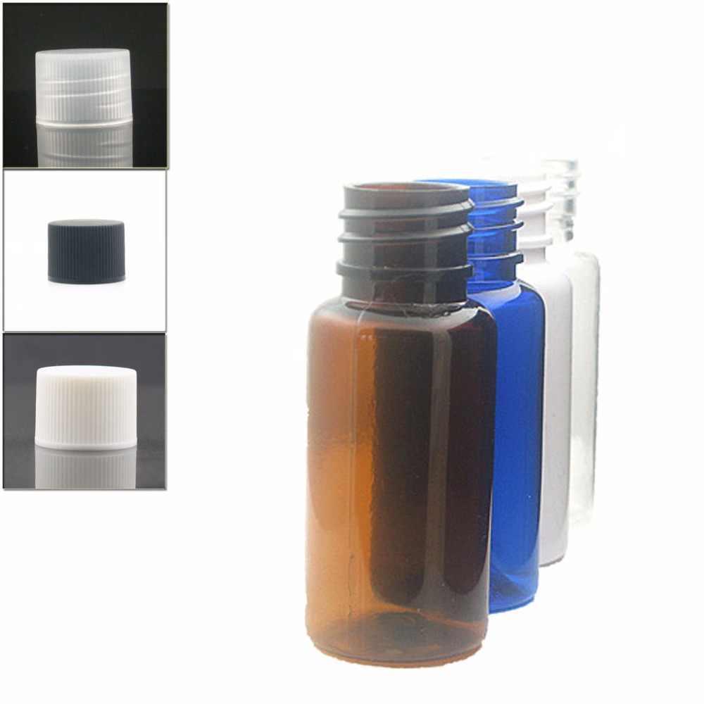 15 ml okrągłe puste butelki plastikowe, przezroczysty/biały/bursztynowy/niebieski dla zwierząt domowych z przezroczystą/biały/czarny prążkowany przykręcana pokrywa x 10