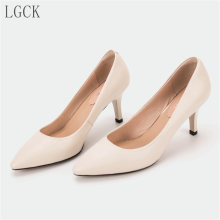 Plus Size 34-43 Genuine Leather Women Pumps Shoes Pointed Toe office lady OL style high heel Quality Wedding Fashion Sexy Shoes цена