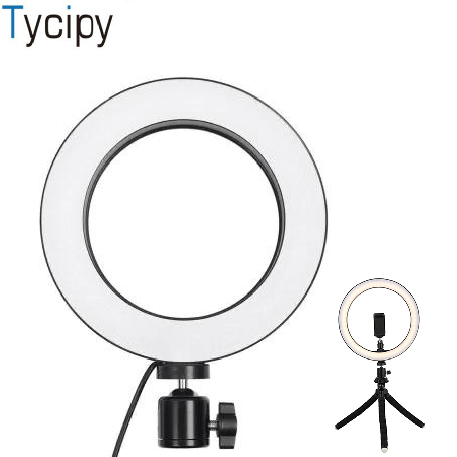 Efluky Selfie <font><b>Ring</b></font> <font><b>Light</b></font> For YouTube Shooting Makeup Dimmable LED Studio <font><b>Light</b></font> 14/<font><b>16</b></font>/20/26cm Video Circle <font><b>Lights</b></font> With Free Gift image