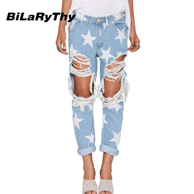 BiLaRyThy Nueva Moda Mujer Vaqueros Estrellas Impresión Agujeros Rasgados Pantalones Vaqueros Rectos Flojos Pantalones de Mezclilla Estilo Novios