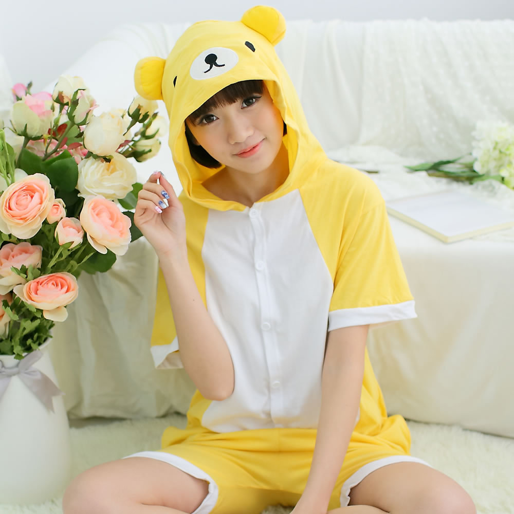 Kigurumi Onesie Unisex Adult Women Yellow Bear Pajamas Costume Animal Cosplay Summer Short Sleeve Cartoon Hoodie Sleepwear