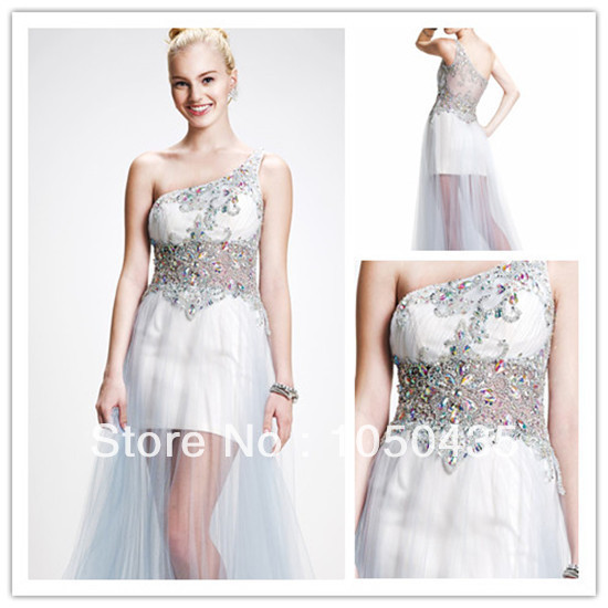 Sexy One Shoulder See Through Prom Evening Dresses 2014 White Tulle