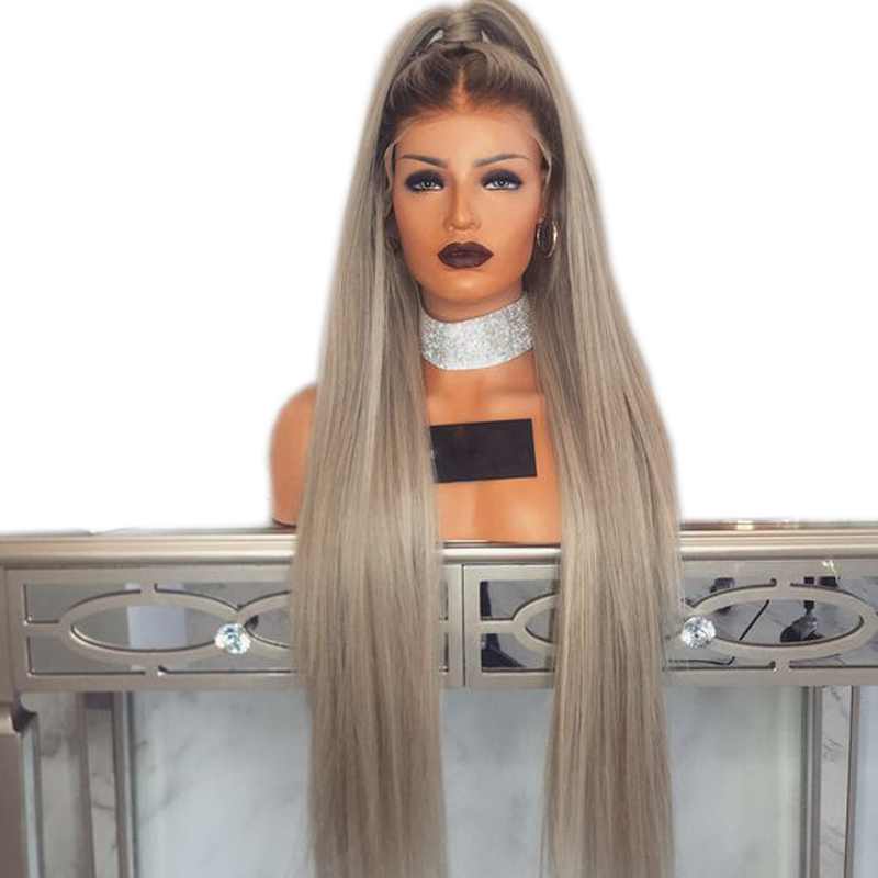 DLME 180 Density 26 inches Long Straight Ash Blonde Wig Synthetic Lace Front Wig with Baby Hair Heat Resistant Wigs for Women ...