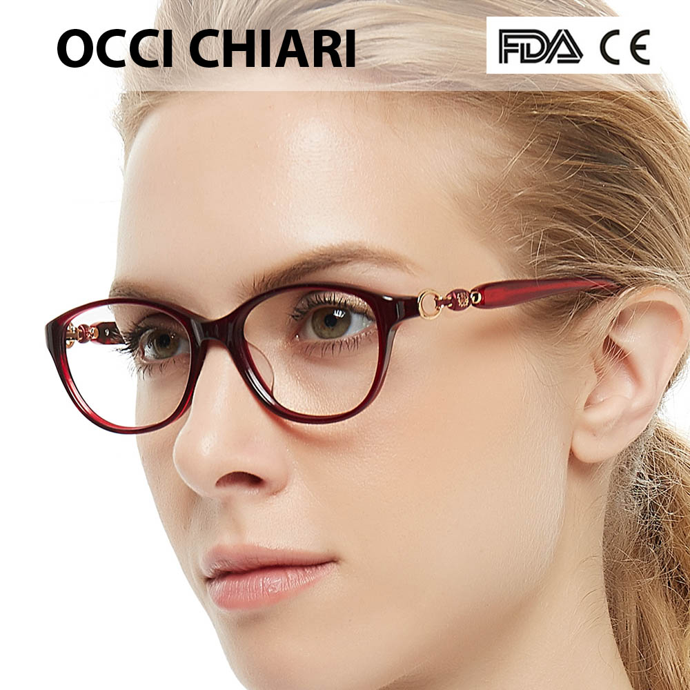 OCCI CHIARI 2018 Retro Vintage Design Women Acetate Myopia Eye Glasses Frames Clear Lens Ladies Eyeglasses Spectacles W-CARLON