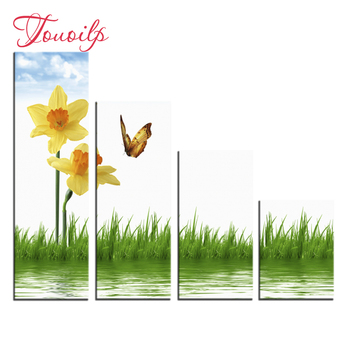 4pcs,Full,square&round Diamond Embroidery,Flower butterfly Diamond Painting,Cross Stitch,Diamond Mosaic,diamond pattern,Crafts фото