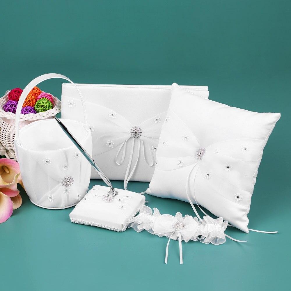 Fournitures de décoration de mariage 5 pièces/ensemble blanc fleur fille panier anneau porteur oreiller livre d'or porte-stylo mariée jarretière ensemble