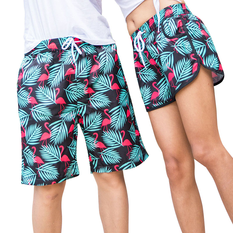 2018 Fashion Couple   Shorts   Summer Hawaii   Board     Shorts   Lovers Beach Men BoardShorts Bermudas Swimwear Swimshorts Funny Plus Size