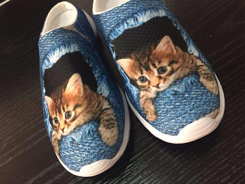 Fashion Unisex Women Sandals Cute Denim Cat Print Summer Flat Slipper Breathable Men Clogs Casual Couples Beach Shoes Plus Size