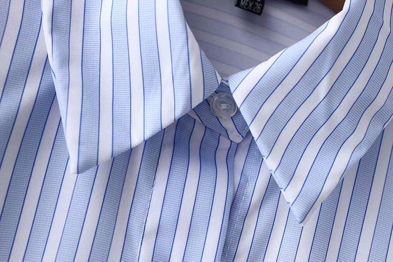 Tops Rayas Blue Casual Bolsillos Midi Pecho Detalles Blusa Moda Mujeres S8wHB6qUx