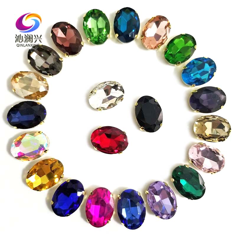 Mix color oval shape High quality Glass Crystal sew on stones,golden bottom claw rhinestone,Diy/Clothing accessories