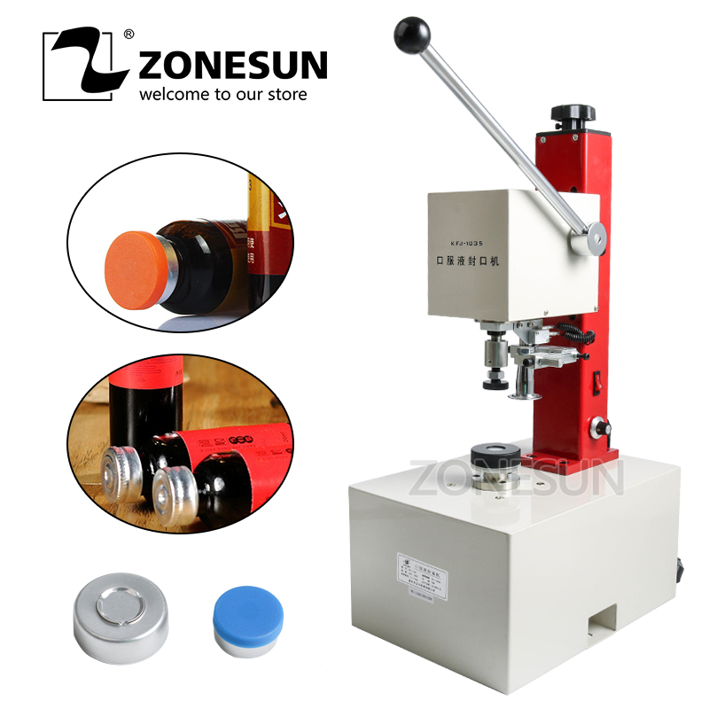 ZONESUN 10-35mm penicillin bottle capper, Antibiotics bottle Crimper,perfume oral liquid solution electric capping machine