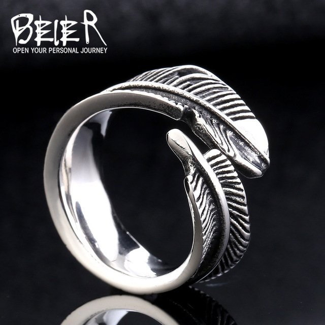Titanium Feather Open Rings Unisex Adjustable Size Punk Party Fashion Jewelry HYfnjCglzB