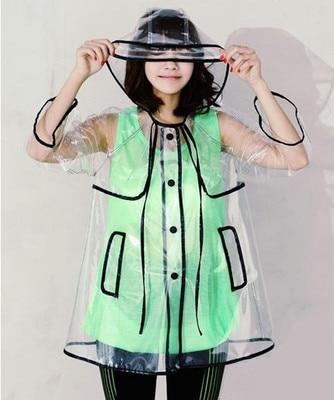 Mujeres de la manera Transparente Impermeable EVA Outoor Teavel Impermeable a prueba de agua